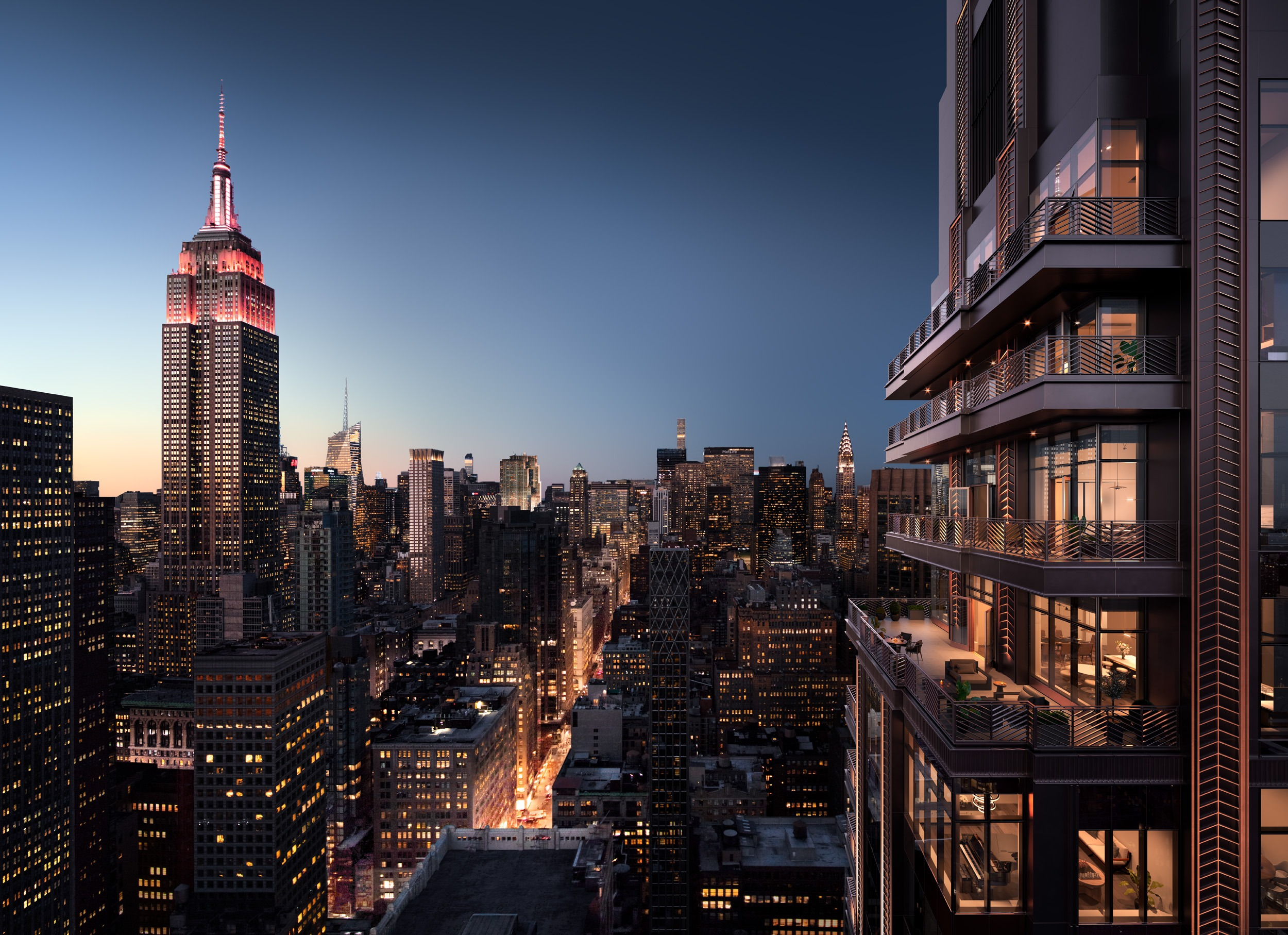 Penthouse Terraces looking North up Madison Avenue